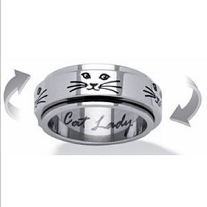 Jewelry - Cat Lady Spinner Ring Stainless Steel